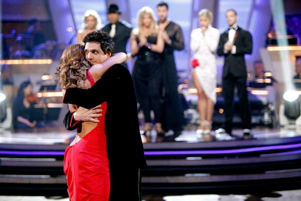 Ralph Macchio and his partner Karina Smirnoff react to being eliminated from ABC's hit ballroom dancing competition series on Tuesday, May 1