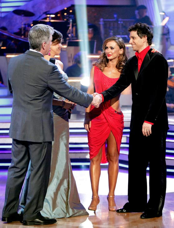 Ralph Macchio and his partner Karina Smirnoff react to being eliminated from ABC's hit ballroom dancing competition series on Tuesday, May 17