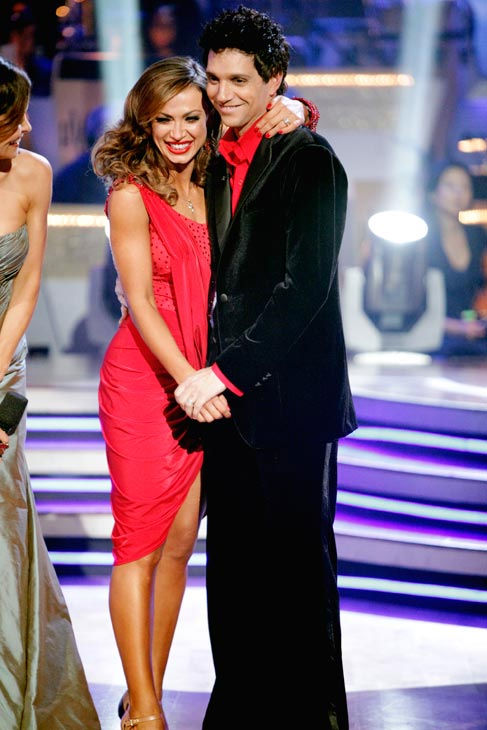 Ralph Macchio and his partner Karina Smirnoff react to being eliminated from ABC's hit ballroom dancing competition seri