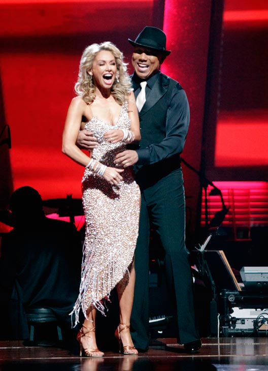 Hines Ward and his partner Kym Johnson react to being safe from elimination. The couple danced a Tango, a Salsa and an Instant Cha Cha on week nine of 'Dancing With The Stars.' The judges gave the couple 30 out of 30 for their Argentine Tango and 30 point