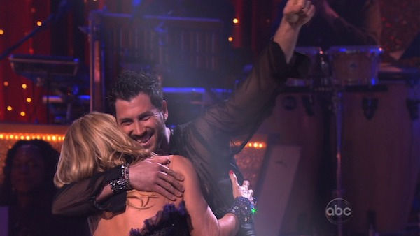 Kirstie Alley and her partner Maksim Chmerkovskiy react to being safe from elimination. The couple danced a Vienese Waltz, a Paso Doble and an Instant Cha Cha on week nine of &#39;Dancing With The Stars.&#39; The judges gave the couple 27 out of 30 for their Vienese Waltz and 27 points out of 30 for their Paso Doble. The couple earned a total of 54 out of 60. <span class=meta>(OTRC Photo)</span>