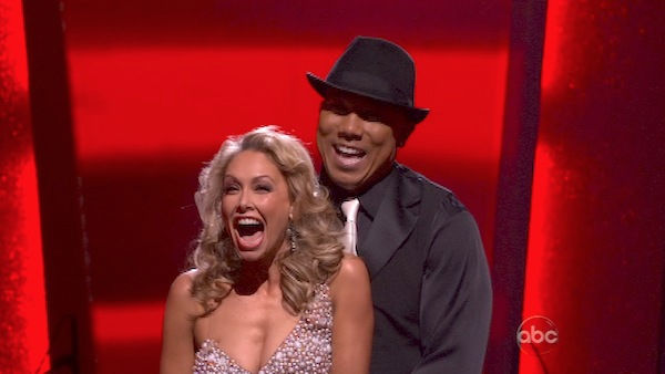 Hines Ward and his partner Kym Johnson react to being safe from elimination. The couple danced a Tango, a Salsa and an Instant Cha Cha on week nine of &#39;Dancing With The Stars.&#39; The judges gave the couple 30 out of 30 for their Argentine Tango and 30 points out of 30 for their Salsa. The couple earned a total of 60 out of 60. <span class=meta>(OTRC Photo)</span>