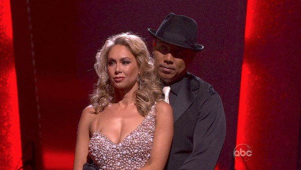 "<div class=""meta image-caption""><div class=""origin-logo origin-image ""><span></span></div><span class=""caption-text"">Hines Ward and his partner Kym Johnson await possible elimination. The couple danced a Tango, a Salsa and an Instant Cha Cha on week nine of 'Dancing With The Stars.' The judges gave the couple 30 out of 30 for their Argentine Tango and 30 points out of 30 for their Salsa. The couple earned a total of 60 out of 60. (OTRC Photo)</span></div>"