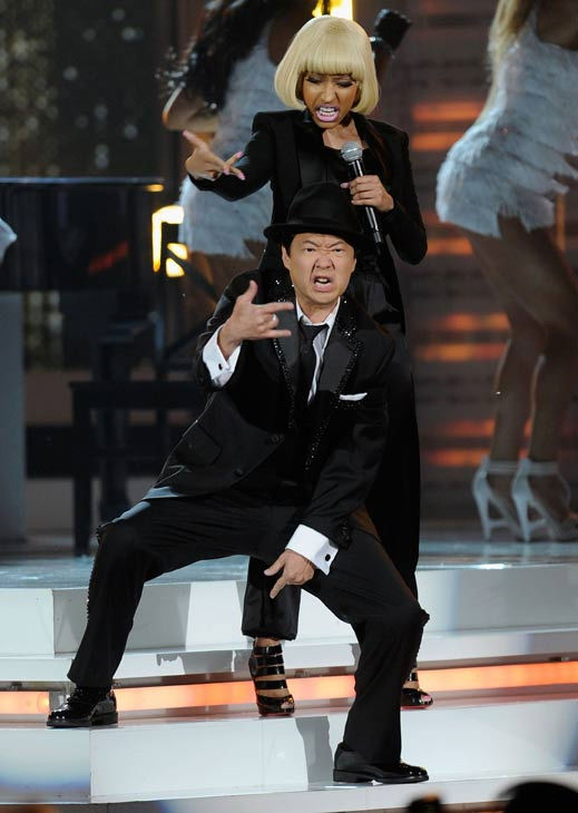 "<div class=""meta ""><span class=""caption-text "">Comedian and 2011 Billboard Awards host Ken Jeong performs with Nicki Minaj and Train frontman Pat Monahan in Las Vegas on Sunday, May 22, 2011. (ABC Photo/ Ethan Miller)</span></div>"
