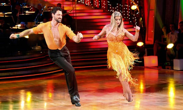 Kirstie Alley and her partner Maksim Chmerkovskiy dance a Samba and a Freestyle dance on week ten of 'Dancing With The Stars.' The judges gave the couple 27 out of 30 for their Samba and 27 points out of 30 for their Freestyle. T