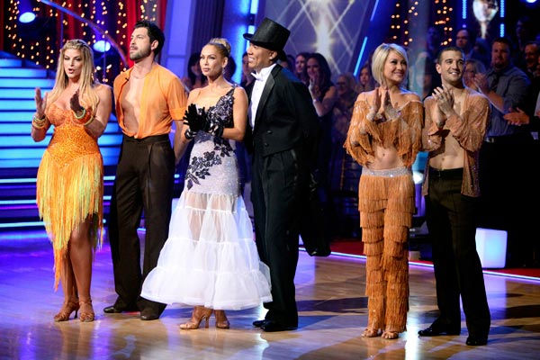 Kirstie Alley, Maksim Chmerkovskiy, Kym Johnson, Hines Ward, Chelsea Kane and Mark Ballas appear on 'Dancing With The Stars' on May 23,