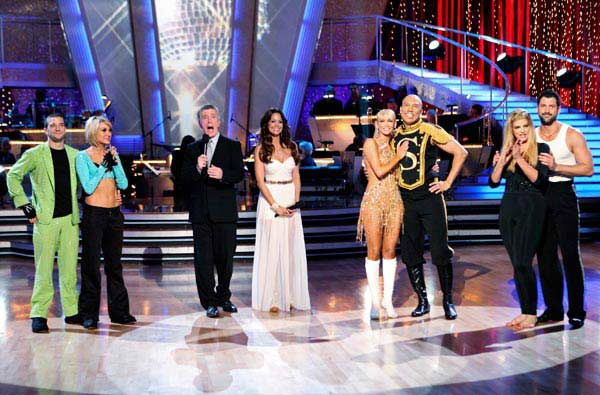 Kirstie Alley, Maksim Chmerkovskiy, Kym Johnson, Hines Ward, Chelsea Kane and Mark Ballas appear on 'Dancing With The Stars' on May 23, 2011.