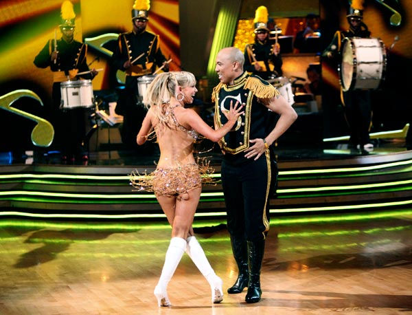 Hines Ward and his partner Kym Johnson dance a Quickstep and a Freestyle dance on week ten of 'Dancing With The Stars.' The judges gave the couple 29 out of 30 for their Quickstep and 30 points out of 30 for their Freestyle. The couple earned a total of 5