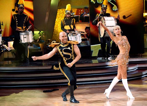 "<div class=""meta ""><span class=""caption-text "">Hines Ward and his partner Kym Johnson dance a Quickstep and a Freestyle dance on week ten of 'Dancing With The Stars.' The judges gave the couple 29 out of 30 for their Quickstep and 30 points out of 30 for their Freestyle. The couple earned a total of 59 out of 60. (ABC Photo/ Adam Taylor)</span></div>"