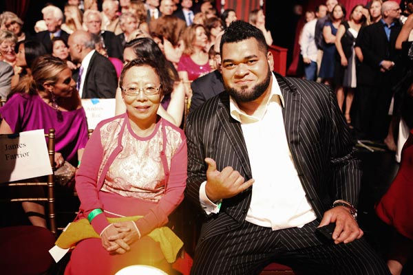 Kim Young-Hee (Ward's mother) and Chris Kemoeatu appear on 'Dancing With The Stars' on May 23, 2011.