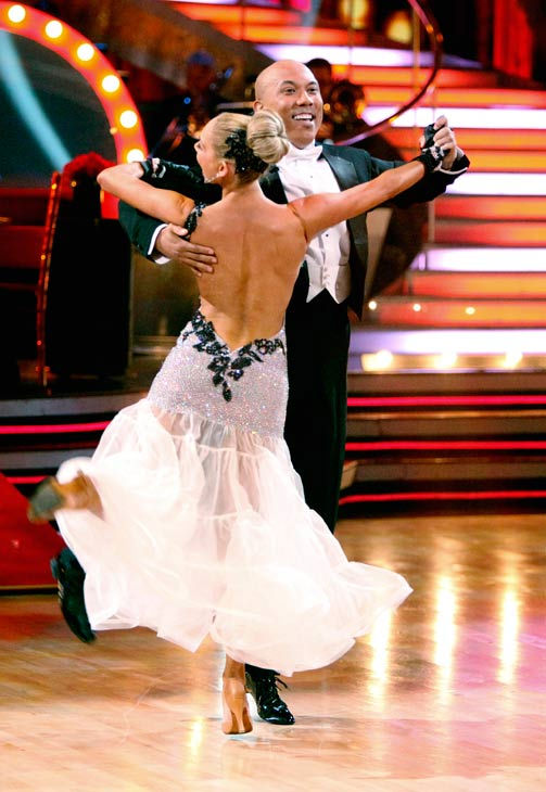Hines Ward and his partner Kym Johnson dance a Quickstep and a Freestyle dance on week ten of 'Dancing With The Stars.' The judges gave the couple 29 out of 30 for their Quickstep and 30 points out of 30 for their Freestyle. Th
