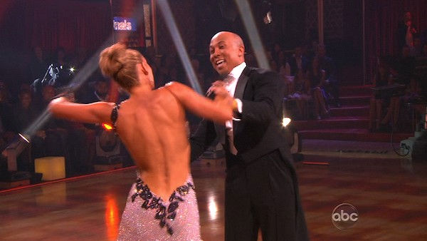 Hines Ward and his partner Kym Johnson dance a...