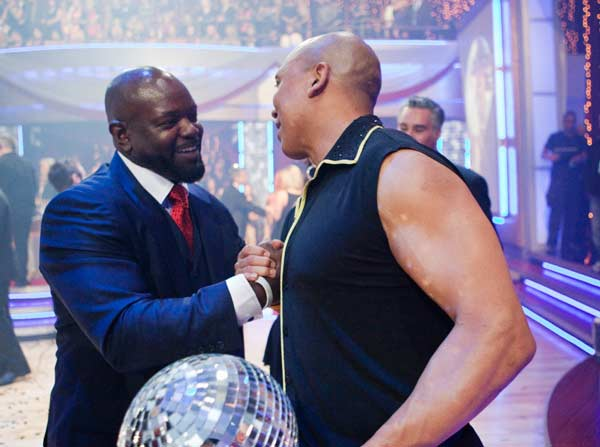 Hines Ward talks to fellow 'Dancing With The Stars' alum Emmitt Smith after being crowned the champions of 'Dancing With The Stars' season 12 on Tuesday, May 24, 2011.