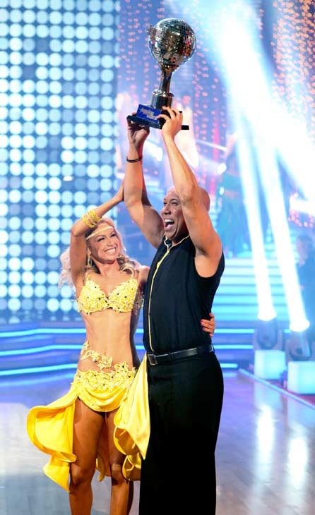 Hines Ward and his partner Kym Johnson were crowned the champions of &#34;Dancing With The Stars&#34; season 12 on Tuesday, May 24, 2011. The pair danced a Quickstep and a Freestyle dance on Monday.  The judges gave the couple 29 out of 30 for their Quickstep and 30 points out of 30 for their Freestyle. On Tuesday, the two performed their favorite dance -- a Samba. The judges gave the couple 30 out of 30. With their scores from Monday, the couple earned a total of 89 out of 90. <span class=meta>(OTRC Photo)</span>