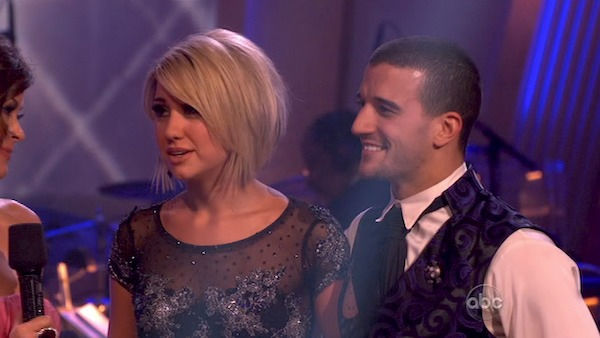 Chelsea Kane and her partner Mark Ballas came in...