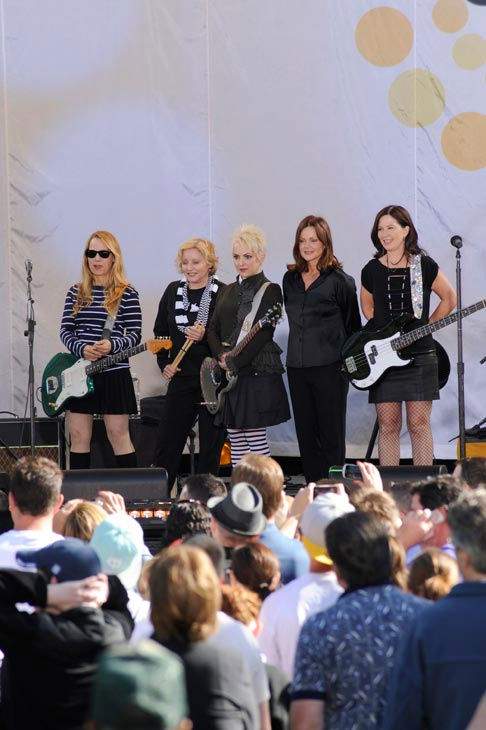 "<div class=""meta ""><span class=""caption-text "">The Go-Go's members Belinda Carlisle, Jane Wiedlin, Charlotte Caffrey, Kathy Valentine and Gina Schock celebrate 30 years in entertainment with an anniversary album and a live performance in Central Park as part of the ""GMA Summer Concert Series,"" airing on ""Good Morning America"" on June 3, 2011. (ABC / Donna Svennevik)</span></div>"