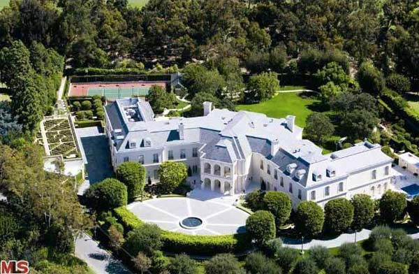 An arial view of Aaron Spelling's 57,000-square...