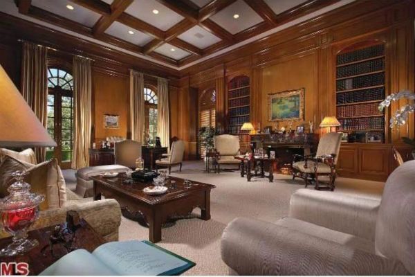 The library in Aaron Spelling&#39;s 57,000-square foot Los Angeles home, which had a &#36;150 million asking price and is in contract to be sold to 22-year-old heiress Petra Ecclestone, daughter of billionaire Formula One racing boss Bernard Ecclestone. <span class=meta>(Photo&#47;Realtor.com)</span>