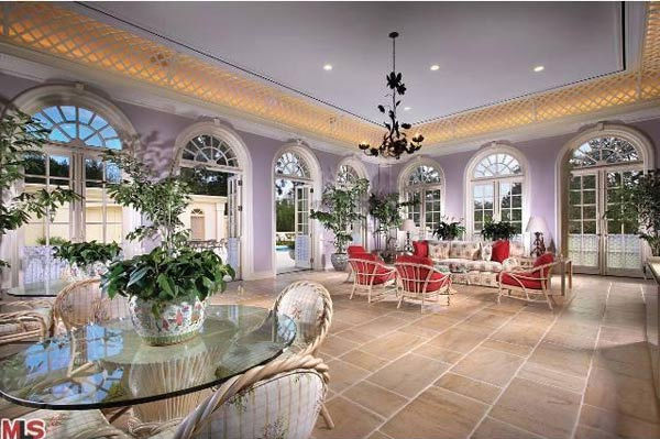 The breakfast patio of Aaron Spelling's 57,000-square foot Los Angeles home, which had a $150 million asking price and is in contract to be sold to 22-year-old heiress Petra Ecclestone, daughter of billionaire Formula One racing boss Bernard Ecclestone.