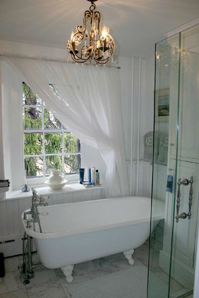 The bathroom in the five-bedroom home featured...