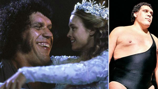 "<div class=""meta ""><span class=""caption-text "">André the Giant was a French professional wrestler and actor. He is best known for his portrayal of Fezzik in the classic movie 'The Princess Bride.'   At 7'4"", Andre, whose real name is André René Roussimoff, was dubbed 'The Eighth Wonder of the World.' He was inducted into the WWF Hall of Fame in 1993.   Roussimoff's size was due to the disease acromegaly, which eventually caused his death in 1993 of congestive heart failure, at the age of 46.  (Pictured: Andre the Giant and Robin Wright appear in a still from 'The Princess Bride.' / Andre the Giant appears in an undated photo from his official website.) (MGM / AndreTheGiant.com)</span></div>"
