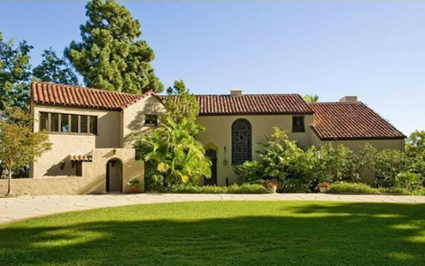 Katy Perry and Russell Brand's Hollywood Hills home. The seven-bedroom, nine bathroom house is 8,835 square feet and was purchased by the couple for $6.5 million.