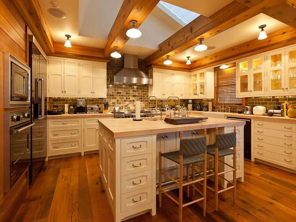 The kitchen in Jerry Seinfeld's mansion in Telluride, Colorado which has 11 bedrooms, 11 bathrooms, mountain views and a creek and is on the market for $18 million.