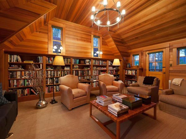 The library in Jerry Seinfeld&#39;s mansion in Telluride, Colorado which has 11 bedrooms, 11 bathrooms, mountain views and a creek and is on the market for &#36;18 million. <span class=meta>(Photo&#47;SothebysRealty.com)</span>