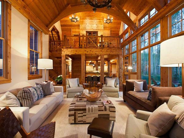 The living room in Jerry Seinfeld's mansion in Telluride, Colorado which has 11 bedrooms, 11 bathrooms, mountain views and a creek and is on the market for $18 million.