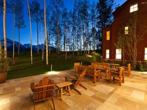 The deck of Jerry Seinfeld's mansion in Telluride, Colorado which has 11 bedrooms, 11 bathrooms, mountain views and a creek and is on the market for $18 million.