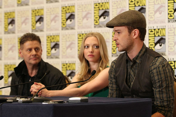 &#39;InTime&#39; Writer&#47;Director Andrew Niccol and co-stars Amanda Seyfried and Justin Timberlake answer questions at their press conference at Comic Con in San Diego, CA on Thursday July 21, 2011. <span class=meta>(Alex J. Berliner&#47;ABImages)</span>