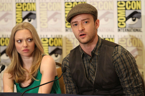 &#39;InTime&#39;  co-stars Amanda Seyfried and Justin Timberlake answer questions at their press conference at Comic Con in San Diego, CA on Thursday July 21, 2011. <span class=meta>(Alex J. Berliner&#47;ABImages)</span>