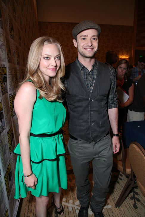 "<div class=""meta ""><span class=""caption-text "">'InTime'  co-stars Amanda Seyfried and Justin Timberlake pose for photos at their press conference at Comic Con in San Diego, CA on Thursday July 21, 2011. (Alex J. Berliner/ABImages)</span></div>"