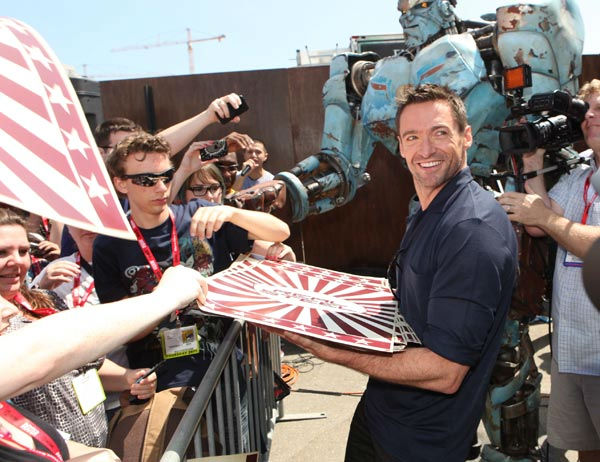 "<div class=""meta ""><span class=""caption-text "">Hugh Jackman from 'Real Steel' appears in a photo at Comic-Con in San Diego on Thursday, July 21, 2011. (DreamWorks)</span></div>"