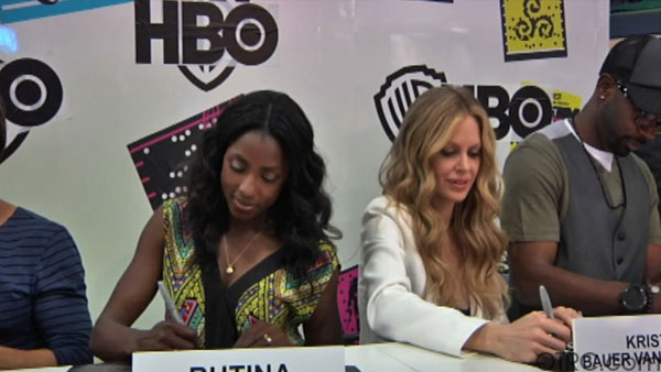 "<div class=""meta ""><span class=""caption-text "">'True Blood' cast members Rutina Wesley, Kristin Bauer and Nelsan Ellisappear in at an autograph signing at Comic-Con in San Diego on Friday, July 22, 2011. (OTRC Photo)</span></div>"