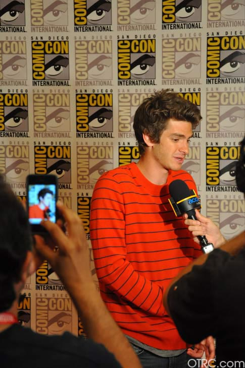 "<div class=""meta image-caption""><div class=""origin-logo origin-image ""><span></span></div><span class=""caption-text"">Andrew Garfield from 'The Amazing Spider-Man' panel appears in a photo at Comic-Con in San Diego on Friday, July 22, 2011. The film is scheduled to be released in 3D on July 3, 2012. (OTRC Photo)</span></div>"