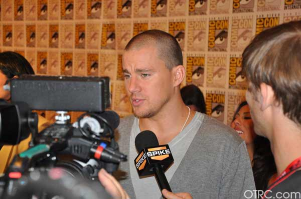 "<div class=""meta ""><span class=""caption-text "">Channing Tatum from the 'Haywire' panel appears in a photo at Comic-Con in San Diego on Friday, July 22, 2011.The film is scheduled to be released on January 20, 2012. (OTRC Photo)</span></div>"