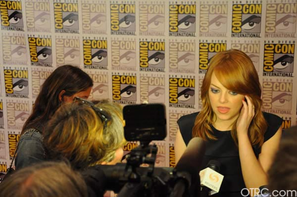 "<div class=""meta ""><span class=""caption-text "">Emma Stone from 'The Amazing Spider-Man' panel appears in a photo at Comic-Con in San Diego on Friday, July 22, 2011. The film is scheduled to be released in 3D on July 3, 2012. (OTRC Photo)</span></div>"