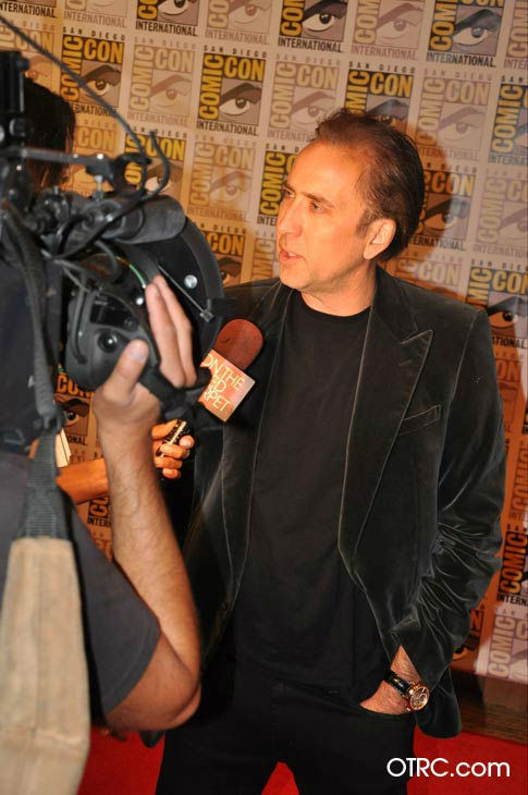&#39;Ghost Rider: Spirit of Vengeance&#39; star Nicolas Cage talks to OnTheRedCarpet.com co-host Rachel Smith at San Diego Comic-Con on Friday, July 22, 2011. Columbia Pictures has set February 17, 2012 as the U.S. release date for the action fantasy movie.  <span class=meta>(OTRC)</span>