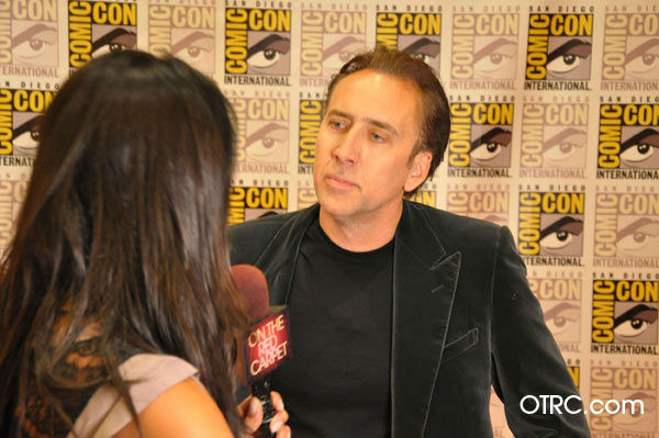 "<div class=""meta ""><span class=""caption-text "">'Ghost Rider: Spirit of Vengeance' star Nicolas Cage talks to OnTheRedCarpet.com co-host Rachel Smith at San Diego Comic-Con on Friday, July 22, 2011.   (OTRC)</span></div>"