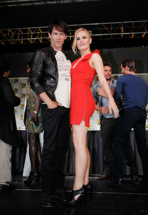 "<div class=""meta ""><span class=""caption-text "">Actor Stephen Moyer and actress Anna Paquin pose on stage after a panel for the television show ""True Blood"" at the Comic-Con International 2011 convention held in San Diego Friday, July 22, 2011. The annual comic book and popular arts convention attracts over 100,000 people and runs through Sunday July 24.   (AP Photo/ DENIS POROY)</span></div>"