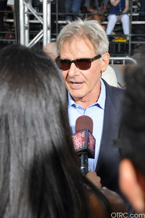 &#39;Cowboys &#38; Aliens&#39; actor Harrison Ford talks to OnTheRedCarpet.com co-host Rachel Smith at the film&#39;s premiere at San Diego Comic-Con on Saturday, July 23, 2011. <span class=meta>(OTRC Photo)</span>
