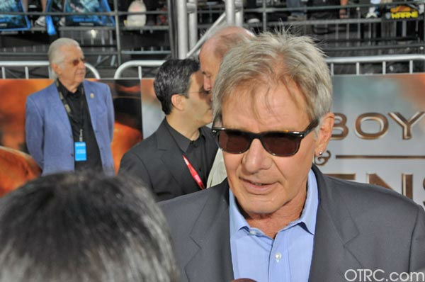 'Cowboys & Aliens' actor Harrison Ford talks to OnTheRedCarpet.com co-host Rachel Smith at the film's premiere at San Diego Comic-Con on Saturday, July 23, 2011.