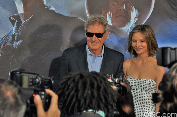 &#39;Cowboys &#38; Aliens&#39; actor Harrison Ford and wife Calista Flockhart appear in a photo at the film&#39;s premiere at San Diego Comic-Con on Saturday, July 23, 2011. <span class=meta>(OTRC Photo)</span>