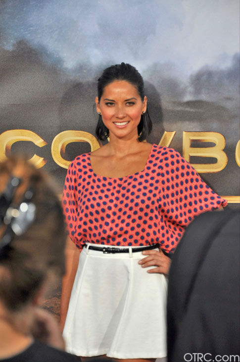 Olivia Munn appears at the premiere of 'Cowboys & Aliens' at San Diego Comic-Con on Saturday, July 23, 2011.