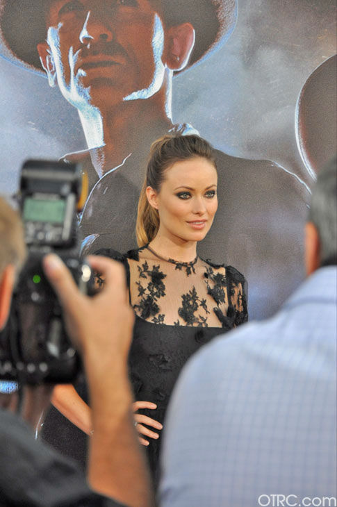 "<div class=""meta ""><span class=""caption-text "">'Cowboys & Aliens' actress Olivia Wilde appears at the film's premiere at San Diego Comic-Con on Saturday, July 23, 2011. (OTRC Photo)</span></div>"