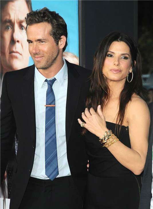 Sandra Bullock appears with Ryan Reynolds at the Los Angeles, California premiere of the film 'The Change Up' on Aug. 1, 2011.
