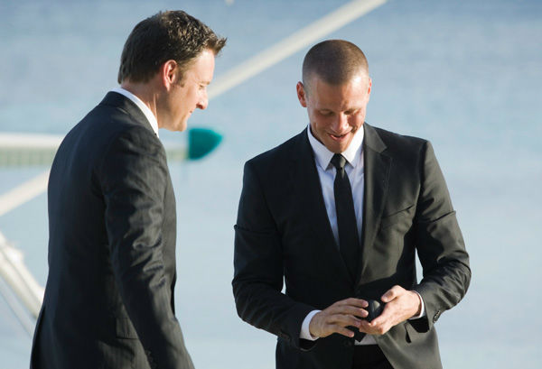 J.P. and Chris Harrison appear in a scene from 'The Bachelorette' season 7 finale, which aired on Monday, August 1 on ABC. In the episode, Ashley Hebert had to choose between the final two bachelors, J.P. and Ben F.