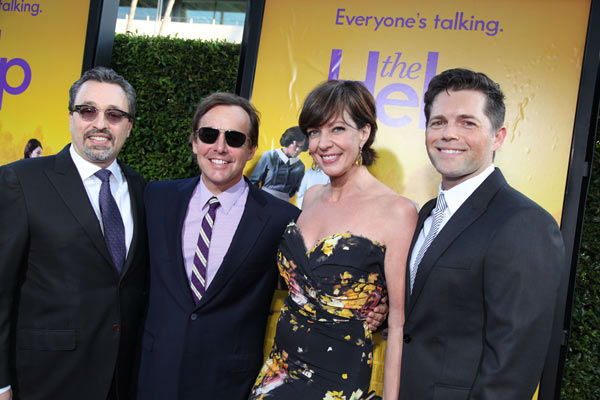 "<div class=""meta image-caption""><div class=""origin-logo origin-image ""><span></span></div><span class=""caption-text"">Producers Michael Branathan, Chris Columbus and Brunson Green pose with Star Allison Janney at the world premiere of DreamWorks Pictures' and Participant Media's 'The Help' on Monday, August 9, 2011 at the Academy of Motion Picture Arts and Sciences in Beverly Hills, CA. 'The Help' opens in U.S. theaters on August 10, 2011. (Alex J. Berliner/abimages)</span></div>"