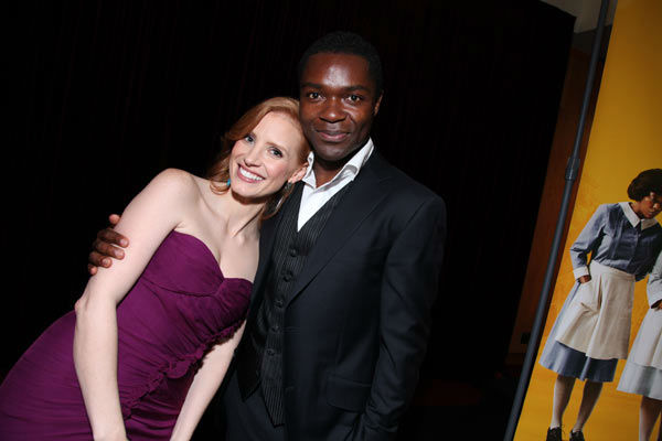 Stars Jessica Chastain and David Oyelowo pose...